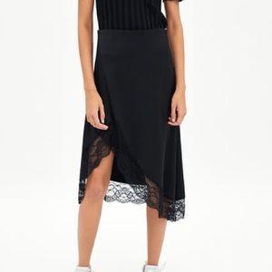 Zara Satin & Lace Black Midi Skirt